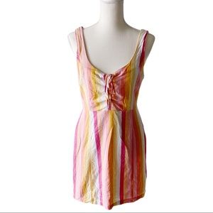 F21 Rainbow Striped Mini Lace Up Front Dress
